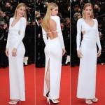 ドウツェン・クロース、真っ白なドレスでレッドカーペットに登場!#カンヌ映画祭