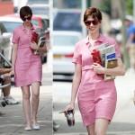 アン・ハサウェイ、可愛いピンクシャツワンピース姿をキャッチ