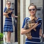 ミランダ・カー、ボーダーワンピースで愛犬とお出かけへ