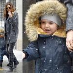 ミランダ・カー、雪に喜ぶフリン君★雪の中お出かけ