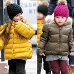 サラ・ジェシカ ・パーカー双子、ダウンジャケットにボンボンニット帽で学校へ