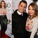 ジェシカ・アルバ、ケンゾーの虎柄スエット×レザーペンシルスカートで夫とイベントに出席