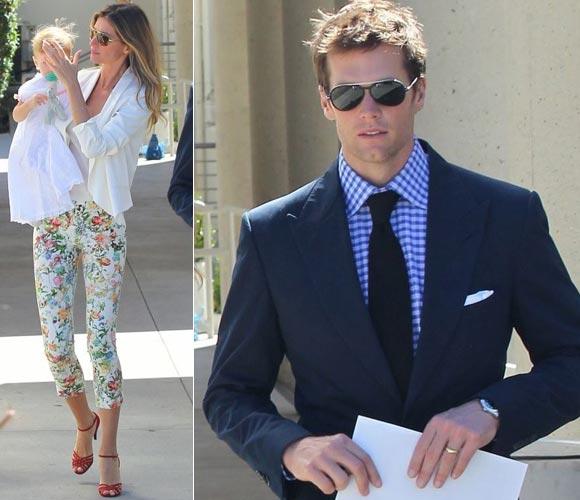 ジゼル・ブンチェン、白ジャケット×花柄パンツで夫と娘の洗礼式へ