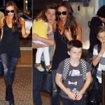 ヴィクトリア・ベッカム、お洒落なセレブ家族が空港に登場
