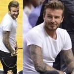 デビッド・ベッカム、白Tシャツ×デニムでバスケットを観戦