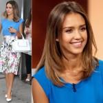 ジェシカ・アルバ、ブルートップス×花柄スカートでテレビ番組出演
