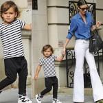 ミランダ・カー、デニムシャツ×白ジーンズで息子フリン君とお出かけ