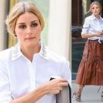 オリビア・パレルモ、白いシャツ×茶色のレザースカートでお出かけ #私服