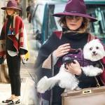 オリヴィア・パレルモ、オシャレすぎる!犬の散歩ファッション #ケープ