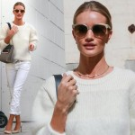 ロージー・ハンティントン=ホワイトリー、白ニット×白ジーンズでショッピングへ #私服