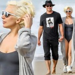 レディー・ガガ、婚約者のテイラー・キニーとビーチをラブラブで散歩