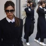 ヴィクトリア・ベッカム、黒ロングコートに白スリッポンでブティックに出勤 #ファッション #髪型