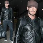 デビッド・ベッカム、黒のレザーバイカージャケットに黒のデニム #私服 #ファッション