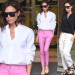ヴィクトリア・ベッカム、最新ファッションスナップ「白シャツ×ピンクパンツ」#髪型