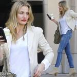 キャメロン・ディアス、春に真似したい「白×ベージュ」大人カジュアルスタイル #私服