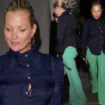 ケイト・モス、「ネイビー×グリーン」の絶妙な色合いが抜群のコーデ #私服