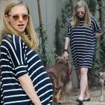 妊娠中のアマンダ・サイフリッド、大きくなったお腹で愛犬と散歩