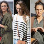 メガネ美人!ジェシカ・アルバ、最新ファッションスナップ「メガネスタイル」