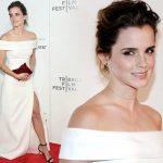 エマ・ワトソン、白のオフショルダードレスでプレミアに出席!