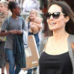 アンジェリーナ・ジョリー、子供たちとショッピングに出かけ