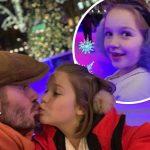 デビッド・ベッカム、娘ハーパーちゃんの唇にキスする写真公開!