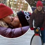 デビッド・ベッカム、愛娘ハーパーとスケートリンクでキス♡